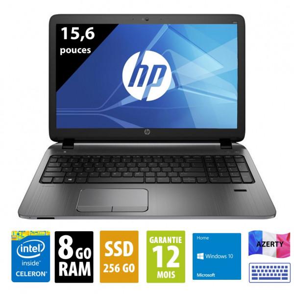 HP ProBook 450 G2- 15,6 pouces - Celeron 2957U@1.50GHz - SSD 256Go - 8Go RAM - DVD-RW - WXGA (1366x768) - Windows 10 home