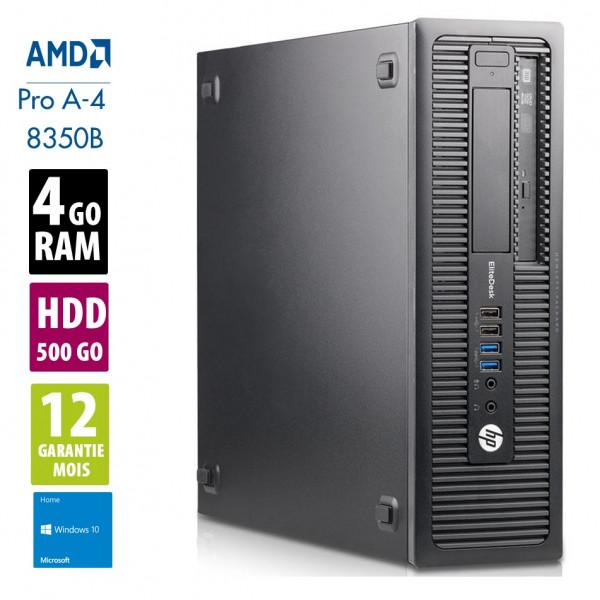 HP EliteDesk 705G1 - AMD PRO A4-8350B@3.90 GHz - 4Go RAM - 500Go HDD - DVD-RW - Windows 10 Home
