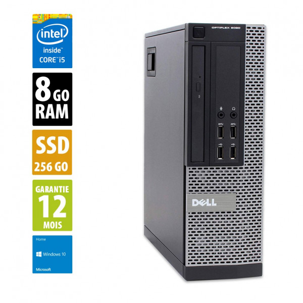 Dell Optiplex 9020 SFF - Core i5-4570@3.20GHz - 8Go RAM - 250Go SSD - Windows 10 Home