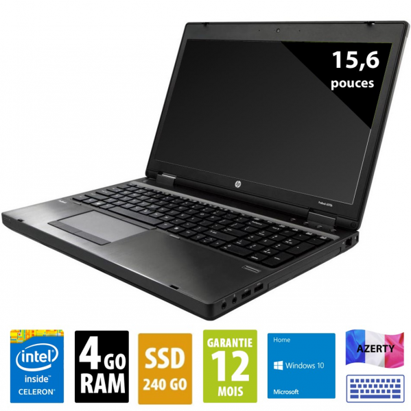 HP ProBook 450 G2- 15,6 pouces - Celeron 2957U 1.40GHz - SSD 256Go - 4 go RAM - DVD-RW - UXGA (1600x1200) - Windows 10 home