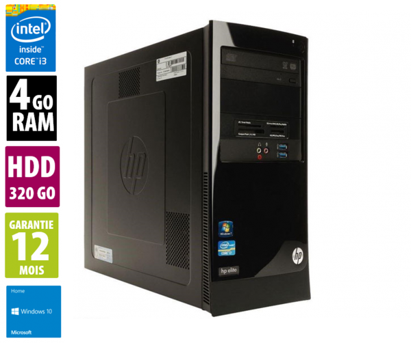 HP Elite 7300 Series MT - DVD RW - Core i3-2120 @ 3.30GHz - 4Go RAM - 320Go HDD - Win 10 Home
