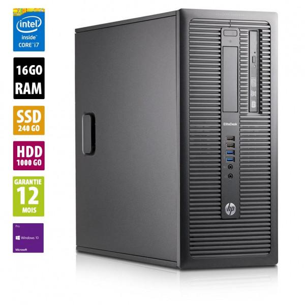 HP EliteDesk 800 G1 TWR - Core i7-4770@3,40GHz - 16Go RAM - 240Go SSD + 1To HDD - Windows 10 Pro