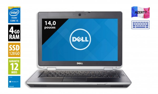 Dell Latitude E6430 - 14,1 pouces - Core i5-3340M@2,70 GHz - 4Go RAM - 128Go SSD - DVD-RW - WSXGA (1600x900) - Windows 10 Home