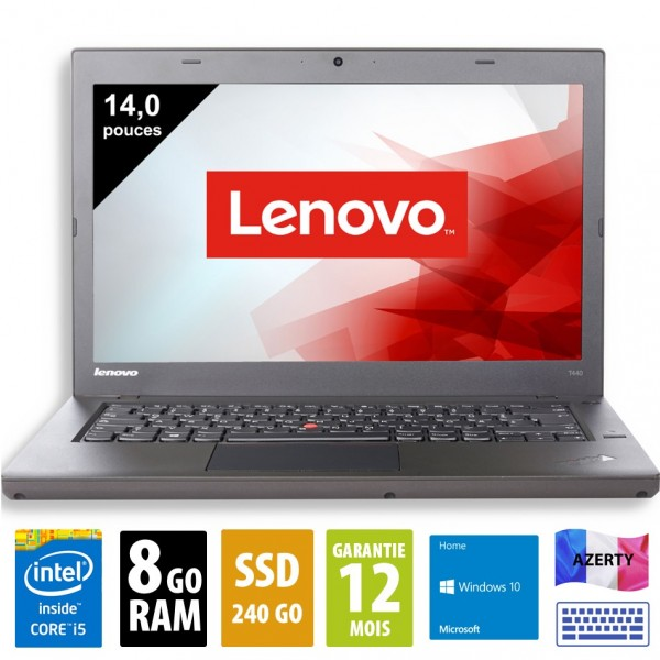 Lenovo ThinkPad T460p - 14 pouces - i5-6300HQ @ 2.30GHz- 8Go RAM - 240Go SSD - WSXGA (1600x900) - Windows 10 Home