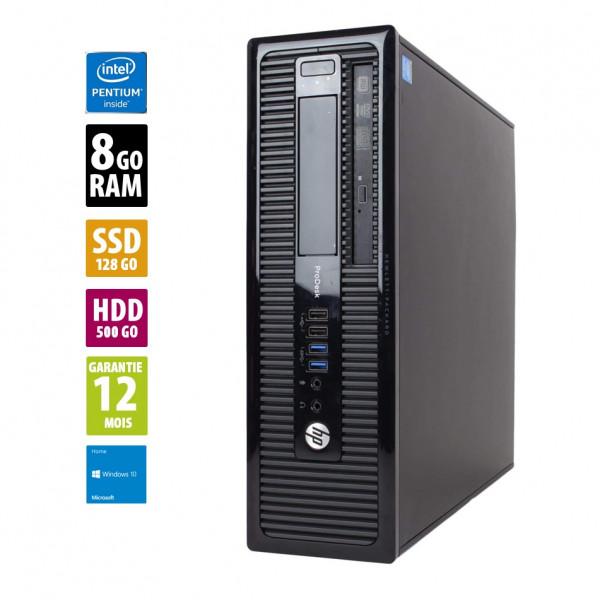 HP ProDesk 400 G1 SFF- Pentium G3220 @3.00GHz - 8Go RAM - 128Go SSD + 500Go HDD - Windows 10 Home