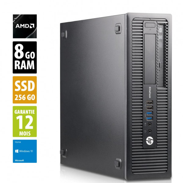 HP EliteDesk 705 G2 SFF- AMD PRO A4-8350B R5 - 8Go RAM - 256Go SSD - DVD-R - Windows 10 Home