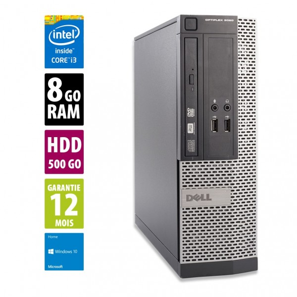 Dell Optiplex 3020 SFF - Core i3-4130@3.40GHz - 8Go RAM - 500Go HDD - DVD-RW - Windows 10 Home