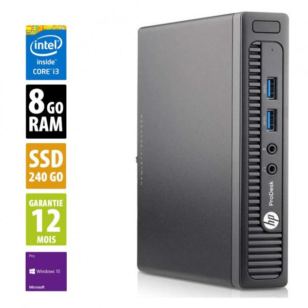 HP ProDesk 400 G1 USDT - Core i3-4160T@3.10GHz - 8Go RAM - 240Go SSD - Windows 10 Pro