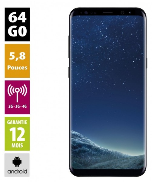 Galaxy S8 Noir carbone 64GB reconditionné - Grade A+