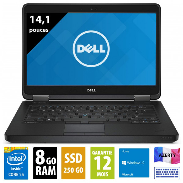 Dell Latitude E5440 - 14,1 pouces - Core i5-4300U@1.90GHz - 8Go RAM - 250Go SSD - DVD-RW - WXGA (1366x768) - Windows 10 home