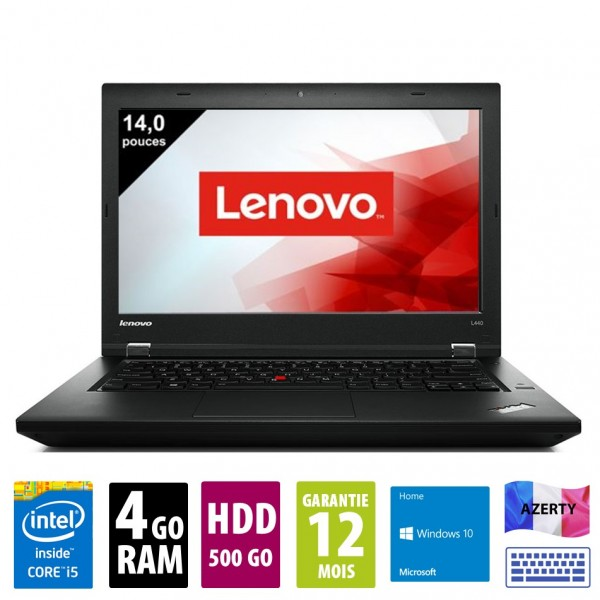 Lenovo ThinkPad L440- 14 pouces - Core i5-4300M@2.60 GHz - 4Go RAM - 500Go HDD - DVD-R - WSXGA (1600x900) - Windows 10 Home