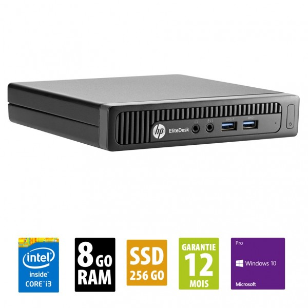 HP EliteDesk 800 G1 DM USFF - Core i3-4150T @ 3.00GHz - 8Go RAM - 256Go SSD - Win 10 Pro
