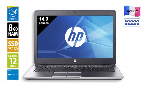 HP Elitebook 840 G3 - 14 pouces - Core i5-6300U@2,40GHz - 8Go RAM - 256Go SSD - WXGA (1366x768) - Windows 10 Home