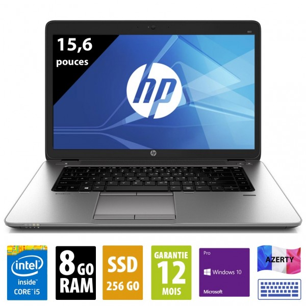 HP Elitebook 850 G2 - 15,6 pouces - Core i5-5300U@2.30GHz - 8Go RAM - 256Go SSD - WXGA (1366x768) - Windows 10 Pro