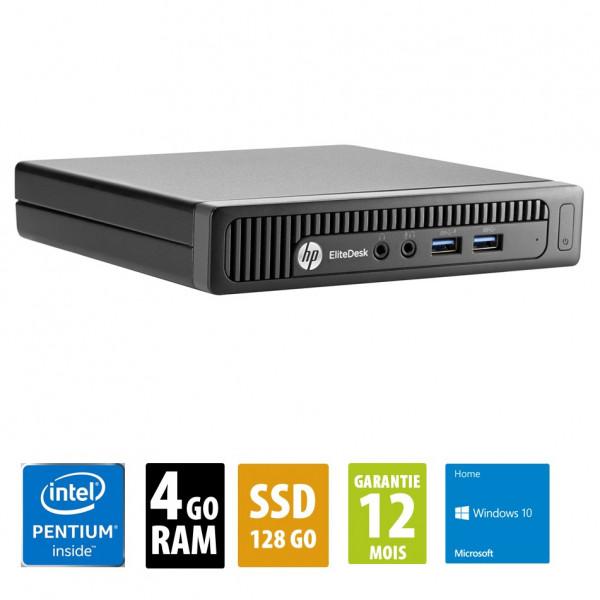HP EliteDesk 800 G1 USFF - Pentium G3220T@2.60GHz - 4Go RAM - 128Go SSD - Windows 10 Home