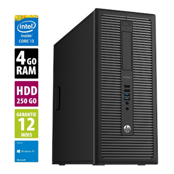 HP ProDesk 600 G1 TWR - Core i3-4130@3.40GHz - 4Go RAM - 250Go HDD - DVD/RW - Windows 10 Home