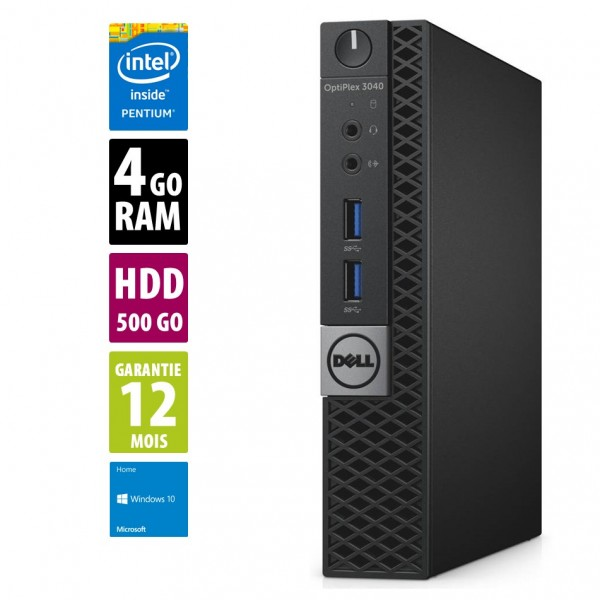 Dell Optiplex 3040 USFF - Pentium CPU G4400T@2.90GHz - 4Go RAM - 500Go HDD - Windows 10 Home
