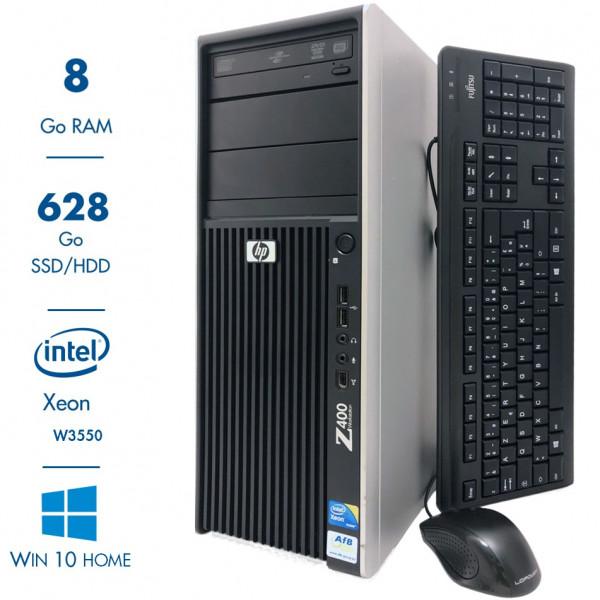 HP Station de travail Z400 CMT - Xeon W3550@3,07GHz - 8Go RAM - 628Go SSD/HDD - DVD-R- nVidia Quadro FX1800 - Windows 10 Home