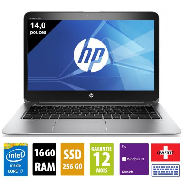 HP Elitebook Folio 1040 G3 - 14 pouces - Core i7-6600U@2.60GHz - 16Go - 256Go SSD - 1920x1080 (FHD) - Windows 10 Pro - Clavier SUISSE