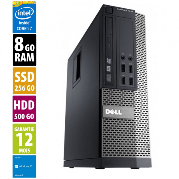 Dell Optiplex 7010 SFF - Core i7-3770@3.70GHz - 8Go RAM - 256Go SSD + 500Go HDD - Windows 10 Home