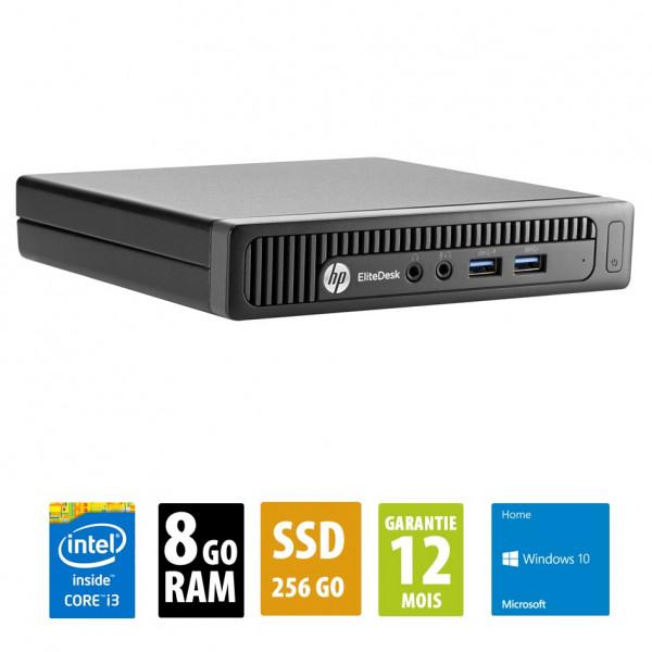 HP EliteDesk 800 G1 USFF - Core i3-4150T@3.00GHz - 8Go RAM - 256Go SSD - Windows 10 Home