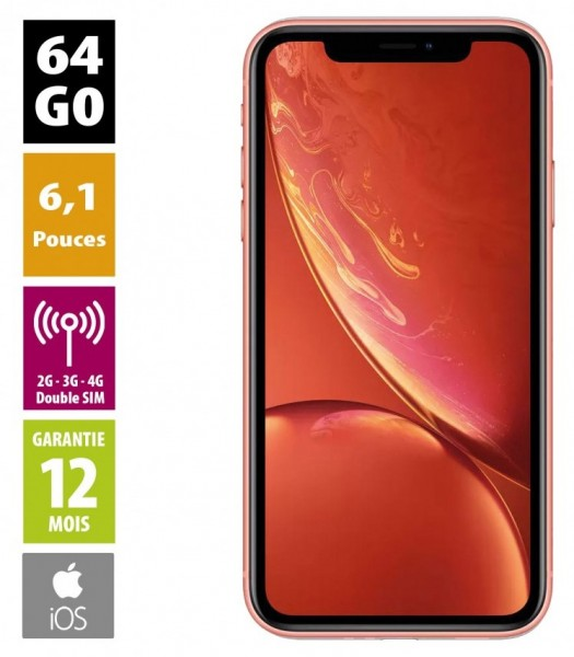 Apple iPhone XR - 64GB - Corail - Grade A+