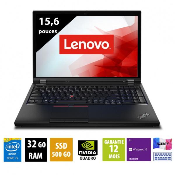 Lenovo Thinkpad P53 - 15 pouces - Core i5-9400 @ 2.90GHz - 32Go RAM - 500Go SSD - FHD(1920x1080) - Windows 10 Pro