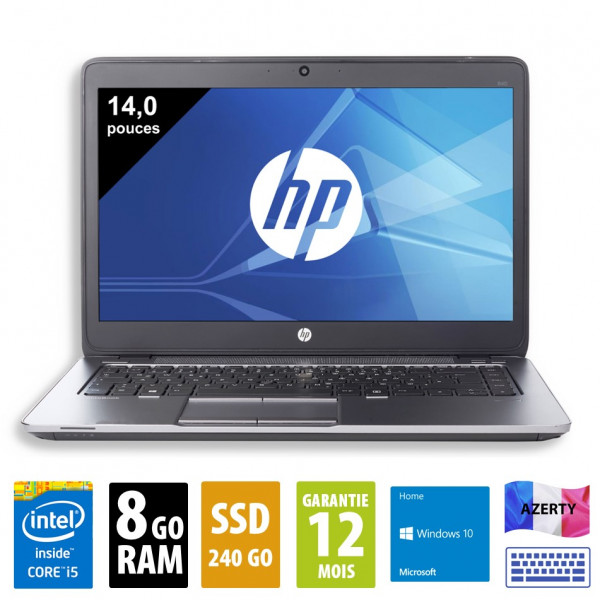 HP Elitebook 840 G1 - 14 pouces - Core i5-4300U@1,90GHz - 8Go RAM - 240Go SSD - WXGA (1366x768) - Windows 10 Home