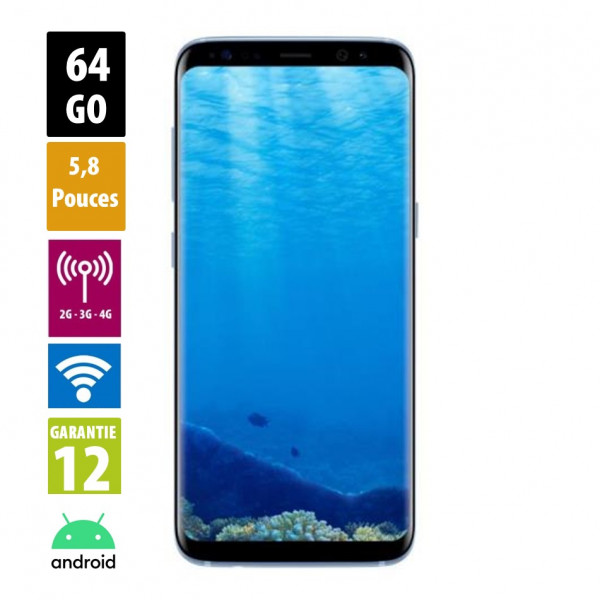 Galaxy S8 Coral Blue 64GB reconditionné - Grade A