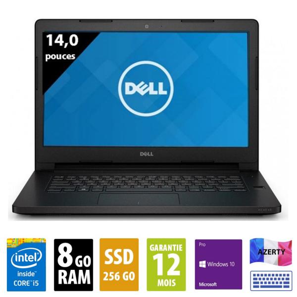 """Dell Latitude E5470- 14"""" pouces - Core i5-6300U@2,40 GHz - 8Go RAM - 256Go SSD - FHD (1920x1080) - Windows 10 Pro"""