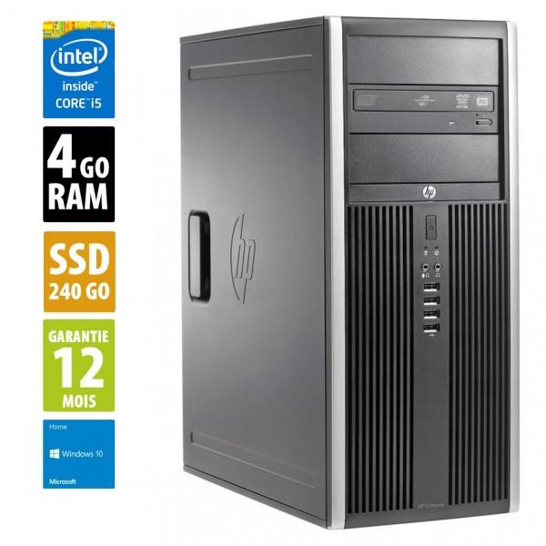 HP Compaq Elite 8300 CMT - Core i5-3570@3.30GHz - 4Go RAM - 240Go SSD - DVD-RW - Windows 10 Home