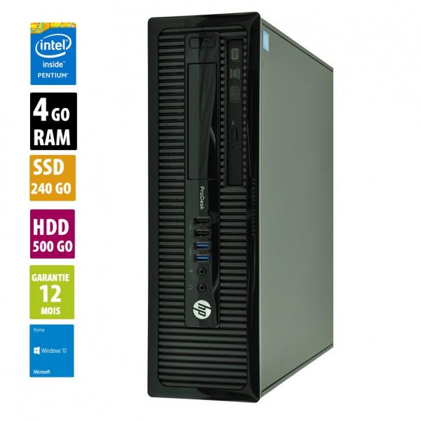 HP ProDesk 400 G1 - Pentium G3220@3.00GHz - 4Go RAM - 240Go SSD + 500Go HDD  - Windows 10 Home