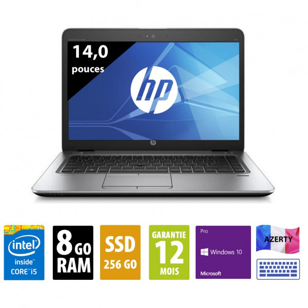 HP Elitebook 840 G3 - 14 pouces - Core i5-6300U@2,40GHz - 8Go RAM - 256Go SSD - FHD (1920*1080) - Windows 10 Pro