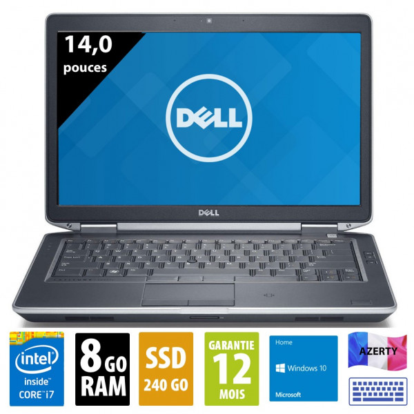 Dell Latitude E6440 - 14 pouces - Core i7-4610M@3,00GHz - 8Go RAM - 240Go SSD - DVD-RW - WXGA (1600x900) - Windows 10 Home