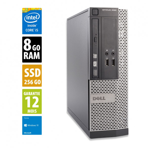 Dell Optiplex 3020 SFF - Intel Core i5-4570@3.20GHz - 8Go RAM - 256Go SSD - Windows 10 Home