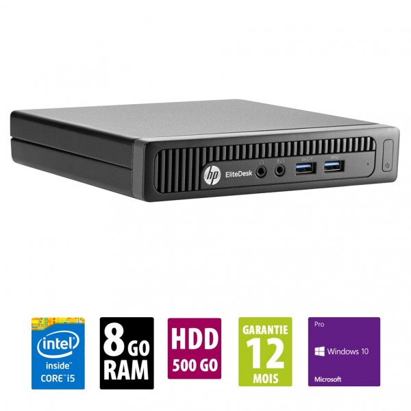 HP EliteDesk 800 G1 USDT - Intel Core i5-4590T @ 2.00GHz - 8Go RAM - 500Go HDD - Win 10 Pro