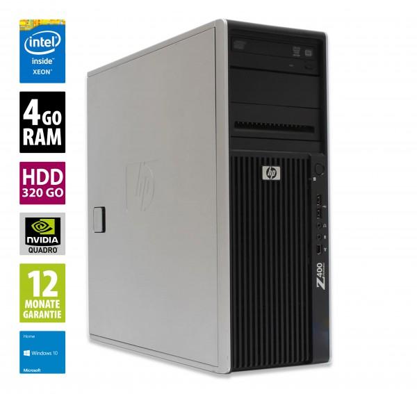 Station de travail HP Z400 CMT - Xeon W3520@2.67 GHz - 4Go RAM - 320Go HDD - Quadro FX 580 - Windows 10 Home