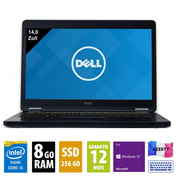 Dell Latitude E5450 - 14 pouces - Core i5-5300U@2.30GHz - 8Go RAM - 256Go SSD - WXGA ( 1366x768 ) - Windows 10 Pro