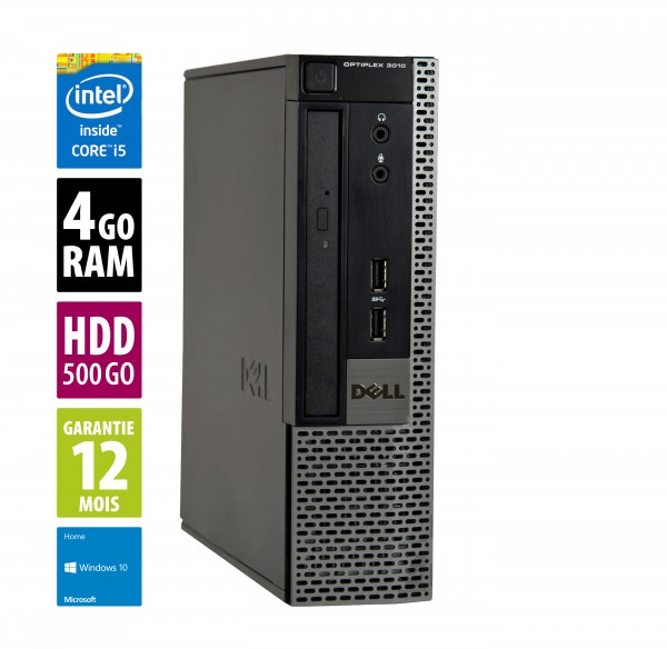 Dell Optiplex 3010 USFF - Core i5-3470@3.20GHz - 4Go RAM - 500Go HDD - DVD/RW  - Windows 10 Home