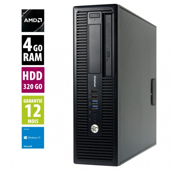 HP EliteDesk 705 G1 SFF- AMD A4 PRO-7300B@3.80 GHz - 4Go RAM - 320Go HDD - DVD-RW - Windows 10 Home