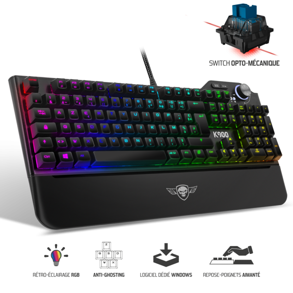Clavier Opto-Mécanique XPERT-K900 LED RGB - SWITCH DARK BLUE
