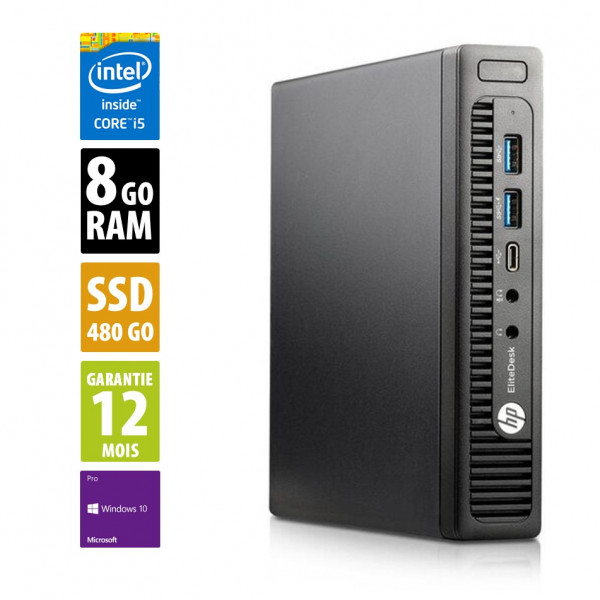 HP EliteDesk 800 G2 USFF - Core i5-6500T@2,50GHz - 8Go RAM - 480Go SSD - Windows 10 Pro