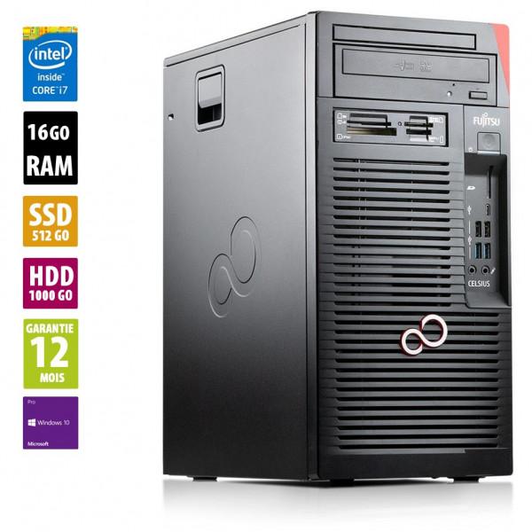 Fujitsu Celsius W570power - Core i7-6700@3.40GHz - 16Go RAM - 1512Go HDD/SSD - Windows 10 Pro