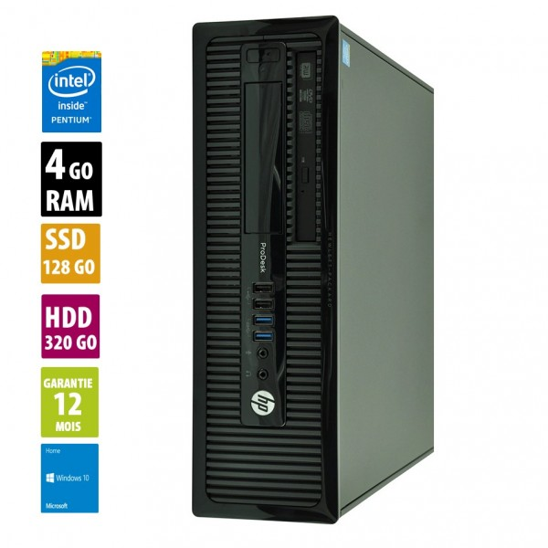 HP ProDesk 400 G1- Intel Pentium G3220 @3.00GHz - 4Go RAM - 128Go SSD + 320Go HDD  - Windows 10 Home