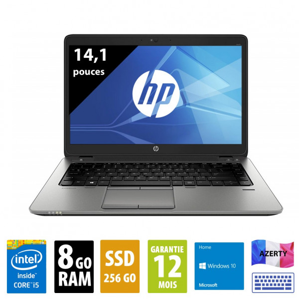 HP Elitebook 840 G2 - 14,1 pouces - Core i5-5300U@2.30GHz - 8Go RAM - 256Go SSD - WXGA - (1366x768) - Windows 10 Home