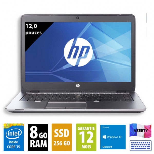 HP Elitebook 820 G2 - 12,5 pouces - Core i5-5300U@2,30GHz - 8Go RAM - 256Go SSD - WXGA(1366x768) - Windows 10 Home