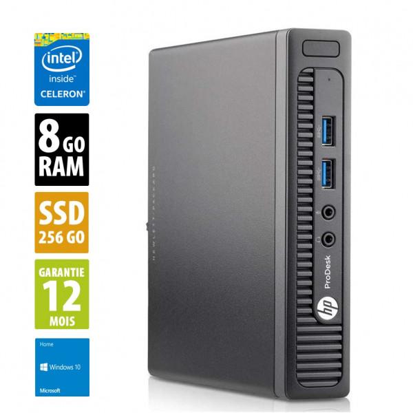HP ProDesk 400 G2 DM USFF - Celeron(R)G3900T@2.60GHz - 8Go RAM - 256Go SSD - Windows 10 Home