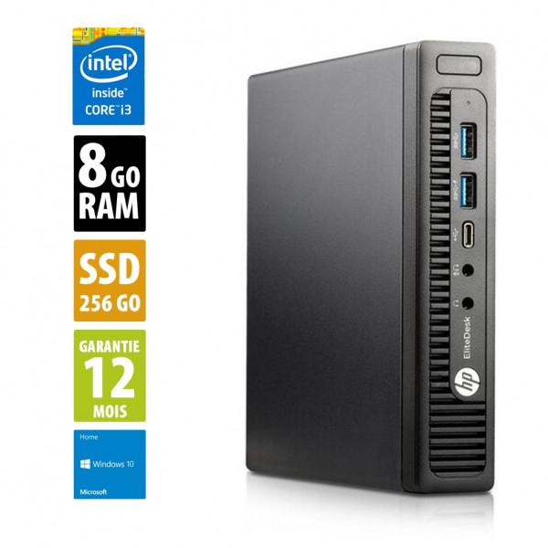 HP EliteDesk 800 G2 USFF - Core i3-6100T@3,20GHz - 8Go RAM - 256Go SSD - Windows 10 Home