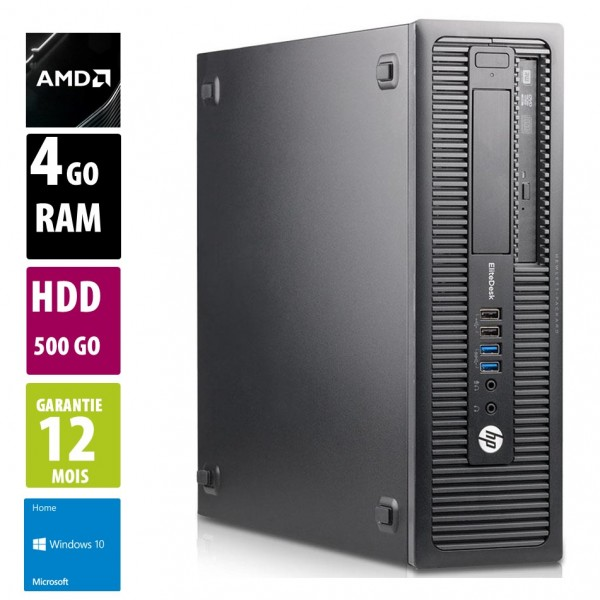 HP EliteDesk 705 G2 - AMD PRO A4-8350B R5 - 4Go RAM - 500Go HDD - DVD-RW - Windows 10 Home