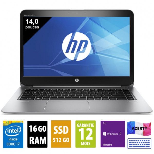 HP Elitebook Folio 1040 G3 - 14 pouces - Core i7-6600U@2.60GHz - 16Go - 512Go SSD - FHD (1920x1080) - Windows 10 Pro - Clavier AZERTY